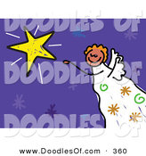 Vector Clipart of a Purple Childs Sketch of an Angel by a Shining Star by Prawny