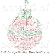 Vector Clipart of a Red and Green Sketched Christmas Ball with Wreath Items by BNP Design Studio
