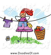 Vector Clipart of a Red Haired Doodled Woman Hanging Laundry on a Line by Prawny