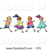 Vector Clipart of a Row of Four Smiling and Running Kids by Prawny