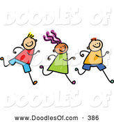 Vector Clipart of a Row of Three Running Kids on White by Prawny