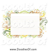 Vector Clipart of a Ruled Paper Bordered with Doodled Green and Yellow Flourishes by BNP Design Studio