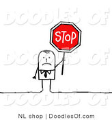 Vector Clipart of a Sad Stick Figure Person Businses Man Holding a Stop Sign by NL Shop