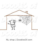Vector Clipart of a Scared Stick Figure Person Woman by a Spider in Her House by NL Shop