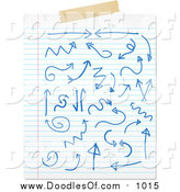 November 16th, 2015: Vector Clipart of a Sheet of Ruled Paper with Blue Doodles and Tape by KJ Pargeter