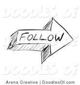 Vector Clipart of a Sketched Follow Arrow by Arena Creative