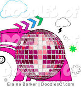 Vector Clipart of a Sketched Pink Shining Disco Ball with Colorful Arrows, Hearts and Clouds by Elaineitalia