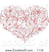 Vector Clipart of a Sketched Red Flower Heart by Vector Tradition SM