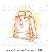 Vector Clipart of a Sketched Shopping or Gift Bag and Tag by BNP Design Studio