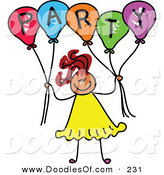 Vector Clipart of a Smile Childs Sketch of a Girl Holding Balloons Spelling Party by Prawny