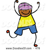 Vector Clipart of a Smiling Boy Celebrating by Prawny