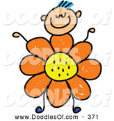 Vector Clipart of a Smiling Boy with a Flower Body by Prawny