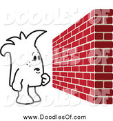 March 20th, 2014: Vector Clipart of a Squiggle Doodle Guy Facing a Brick Wall Obstacle by Toons4Biz