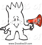 Vector Clipart of a Squiggle Doodle Guy Holding a Megaphone by Toons4Biz