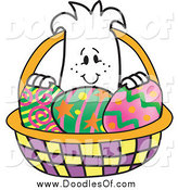Vector Clipart of a Squiggle Doodle Guy in an Easter Egg Basket by Toons4Biz