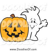 Vector Clipart of a Squiggle Doodle Guy with a Halloween Jackolantern by Toons4Biz