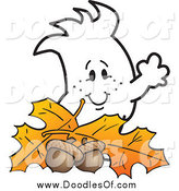 Vector Clipart of a Squiggle Doodle Guy with Autumn Leaves and Acorns by Toons4Biz