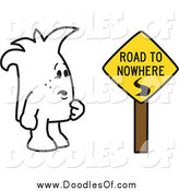 March 16th, 2014: Vector Clipart of a Squiggle Guy Doodle by a Road to Nowhere Sign by Toons4Biz
