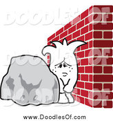 Vector Clipart of a Squiggle Guy Doodle Stuck Between a Rock and a Hard Place by Toons4Biz