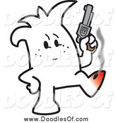 Vector Clipart of a Squiggle Man Shooting Himself in the Foot by Toons4Biz