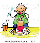 Vector Clipart of a Stick Boy Eating a Soft Boiled Egg for Breakfast by Prawny
