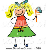 Vector Clipart of a Stick Figure Blond Girl with Head Lice by Prawny
