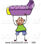 Vector Clipart of a Stick Figure Boy Holding an Asthma Inhaler by Prawny