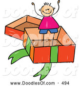 Vector Clipart of a Stick Figure Boy in a Big Gift Box by Prawny