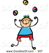 Vector Clipart of a Stick Figure Juggling Boy by Prawny