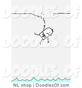 Vector Clipart of a Stick Figure Person Business Man Falling from a Broken Ledge to Water by NL Shop