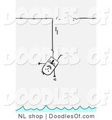 Vector Clipart of a Stick Figure Person Business Man Hanging by the Leg Above Water by NL Shop
