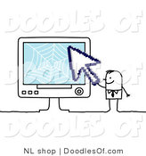 Vector Clipart of a Stick Figure Person Business Man Holding a Cursor to a Computer by NL Shop