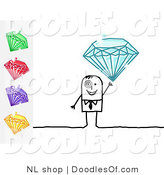 Vector Clipart of a Stick Figure Person Business Man Holding up a Blue Diamond, with Other Gems on the Side by NL Shop