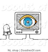 Vector Clipart of a Stick Figure Person Business Man Looking at a Blue Eye on a Computer Screen by NL Shop