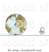 Vector Clipart of a Stick Figure Person Business Man Looking at a Doodle Globe by NL Shop