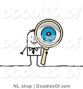 Vector Clipart of a Stick Figure Person Business Man Peering Through a Magnifying Glass by NL Shop
