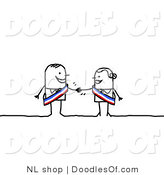 Vector Clipart of a Stick Figure Person Business Man Shaking Hands with a Female Colleague by NL Shop