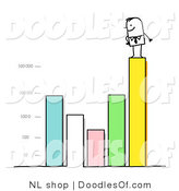 Vector Clipart of a Stick Figure Person Business Man Standing on a Varying Bar Graph by NL Shop