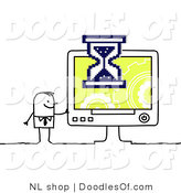 Vector Clipart of a Stick Figure Person Business Man Waiting on a Slow Computer by NL Shop