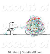 Vector Clipart of a Stick Figure Person Business Man with a Ball of Strings by NL Shop