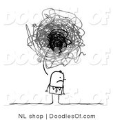 Vector Clipart of a Stick Figure Person Business Man with a Gloomy Scribble Thought Balloon by NL Shop