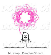 Vector Clipart of a Stick Figure Person Business Man with a Pink Scribble Thought Balloon by NL Shop
