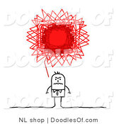 Vector Clipart of a Stick Figure Person Business Man with a Red Angry Scribble Thought Balloon by NL Shop