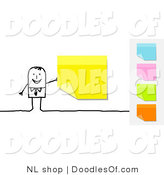 Vector Clipart of a Stick Figure Person Business Man with a Yellow Sticky Note, Other Colors on the Side by NL Shop