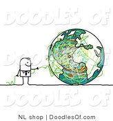 Vector Clipart of a Stick Figure Person Business Man with Strings and a Globe by NL Shop