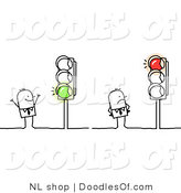 Vector Clipart of a Stick Figure Person Business Men Looking at Red and Green Lights by NL Shop
