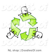 Vector Clipart of a Stick Figure Person Business Men on Green Recycle Arrows by NL Shop