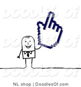 Vector Clipart of a Stick Figure Person Businses Man Holding a Hand Cursor by NL Shop