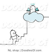 Vector Clipart of a Stick Figure Person Man Climbing the Steps to Heaven by NL Shop