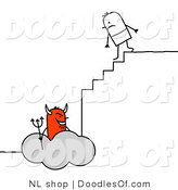 Vector Clipart of a Stick Figure Person Man Climbing the Steps to Hell by NL Shop